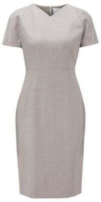 HUGO BOSS - V Neck Dress With Short Sleeves In Virgin Wool - Patterned