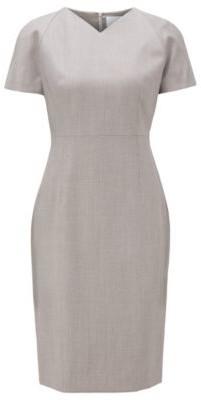 HUGO BOSS V Neck Dress With Short Sleeves In Virgin Wool - Patterned