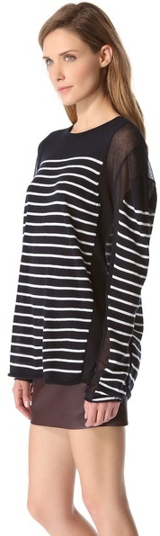 Alexander Wang Striped Panel Sweater with Long Sleeves