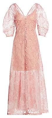 Cult Gaia Women's Tilda Floral-Embroidered Silk Organza Puff-Sleeve A-Line Dress