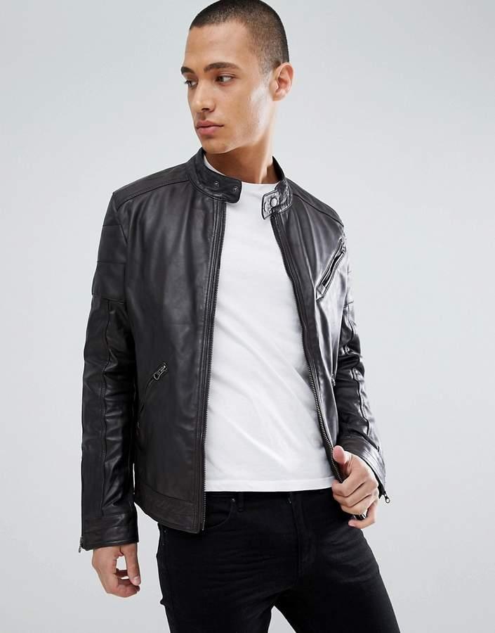 e1eb8d029 Barneys Originals real leather biker jacket