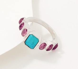 Generation Gems Sterling Silver Emerald Cut & Oval Cabochon Gemstone Ring