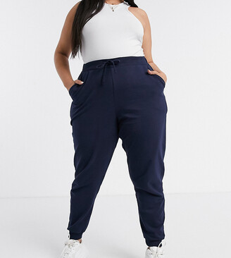 ASOS DESIGN Curve basic jogger with tie in organic cotton in navy
