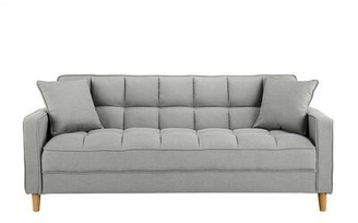 Hashtag Home Corn Modern Fabric 75'' Square Arm Tufted Small Space Sofa Upholstery: Light Gray