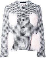 Comme des Garcons embellished detailing checked blazer
