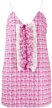 MSGM Tweed Style Ruffle Front Dress