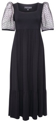 Dorothy Perkins Womens Black Organza Sleeve Tiered Midi Dress, Black