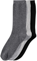 Joe Fresh Women's 3 Pack Crew Socks, Grey (Size 9-11)