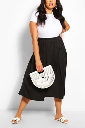 boohoo Plus Woven Full Circle Midi Skirt
