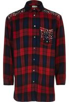 River Island Girls red check embellished shirt