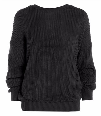 ZEE FASHION Ladies New Plain Chunky Knit Loose Baggy Oversized Jumper Tops Womens Long Sleeve Knitted Sweater Top Scoop Neck Warm Pullover Black