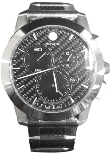 Movado Vizio 0606083 Carbon Fiber Stainless Steel 45mm Mens Watch