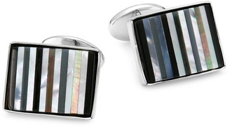 David Donahue Striped Sterling Silver Cuff Links