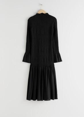 And other stories Smocked Ruffle Hem Midi Dress