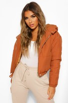 Thumbnail for your product : boohoo Petite Hooded Crop Padded Coat