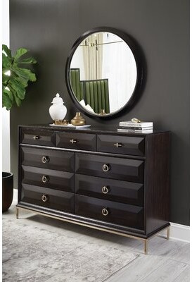 Everly Quinn Sayre 9 Drawer Double Dresser with Mirror