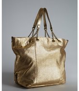 Abaco gold perforated leather 'Kabaco Chaine' tote bag