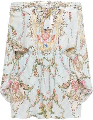 Camilla Versaille Sky Off-the-shoulder Embellished Printed Silk Crepe De Chine Playsuit