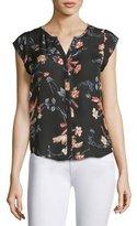 Joie Iva Floral-Print Cap-Sleeve Silk Blouse, Black