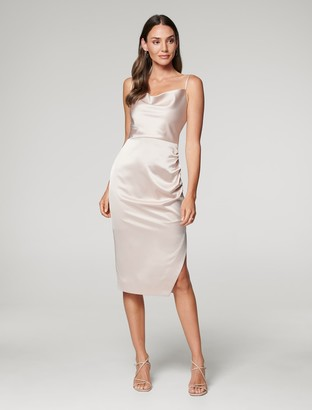 Forever New Laura Satin Cowl Neck-Ruched Midi Dress - Champagne - 10