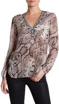 Hale Bob Long Sleeve V-Neck Embellished Bead Print Silk Tunic