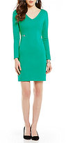 Antonio Melani Iman V-Neck Long Sleeve Solid Ponte Sheath Dress