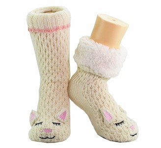 Citycomfort Wool Socks or Slipper Socks 4-8 Thermal Thick Sherpa Fleece Fur Lining Perfect Thermal Winter Sock Comfort and Warmth Pink Piggy 43563