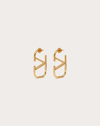 Valentino Vlogo Signature Metal Earrings Women Gold Brass 100% OneSize