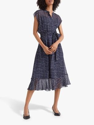 Club Monaco Dremah Silk Midi Dress, Navy/Multi