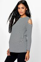 Boohoo Maternity Olivia Stripe Open Shoulder Tee