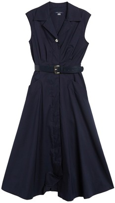 Tommy Hilfiger Belted Sleeveless Fit & Flare Midi Shirt Dress