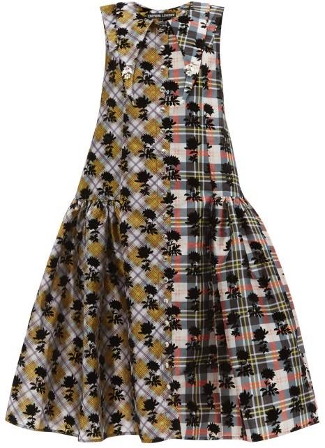 Chopova Lowena Floral-flocked Check Taffeta Midi Dress - Multi