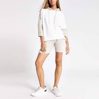 River Island Womens Cream ribbed cycle pyjama shorts