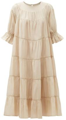 Merlette New York Paradis Tiered Cotton-voile Midi Dress - Beige