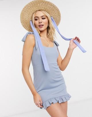Skylar Rose tie strap bodycon dress in slate blue
