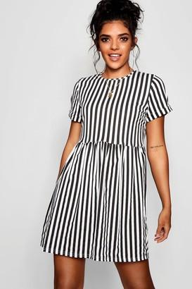 boohoo Striped Gathered Waist Smock Dress