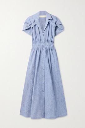 Rosie Assoulin By Any Other Name Striped Textured Stretch-cotton Shirt Dress - Blue
