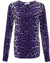 Equipment Liam Leopard Print Washed Silk Top