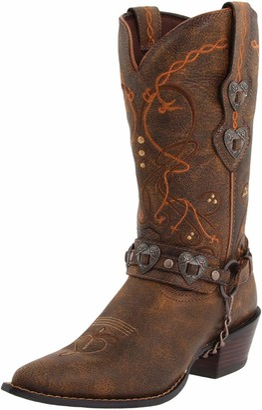 Durango Women's Crush Cowgirl Boot Saddle Brown W/Tan & Brown Boot 6 B - Medium