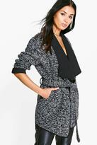 Boohoo Lillie Belted Boucle Waterfall Coat