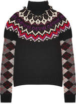 Loewe Intarsia Wool, Silk And Cashmere-blend Turtleneck Sweater