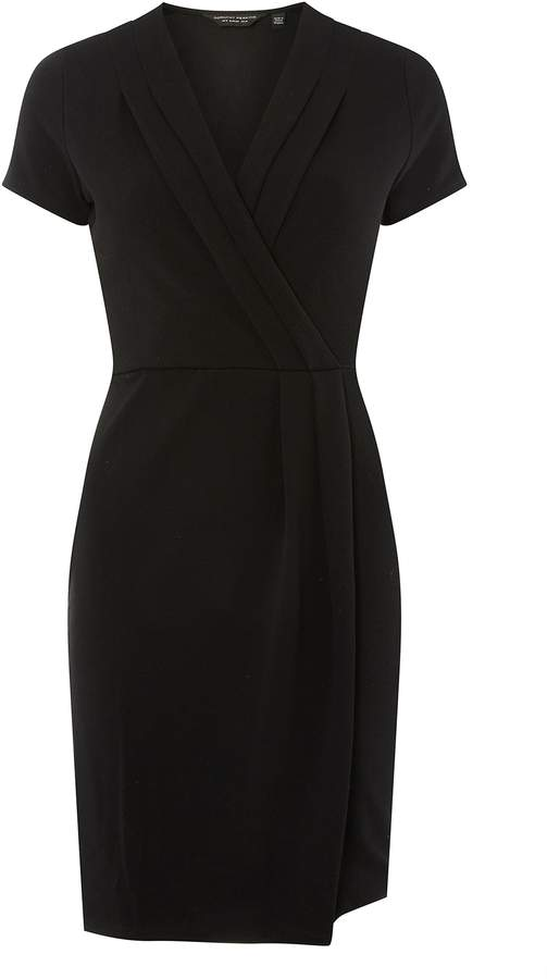 Dorothy Perkins Womens Black Pleat Wrap Pencil Dress