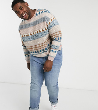 ASOS DESIGN Plus knitted oversized fair isle design sweater in lilac