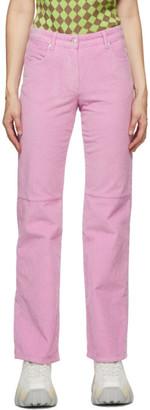 MSGM Pink Velvet Ribbed Trousers