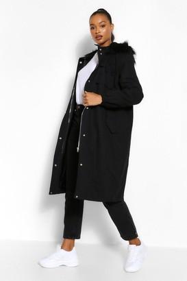 boohoo Tall Faux Fur Oversized Longline Parka