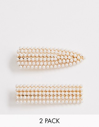 ASOS DESIGN pack of 2 snap shape hair clips in solid pearl embellishment in gold tone