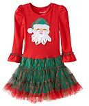 Nannette Girls 4-6x Santa Applique Mesh Skirt Dress