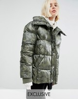 Puffa Oversized Padded Jacket In Angular Camo