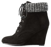 Charlotte Russe Sweater-Cuffed Wedge Booties