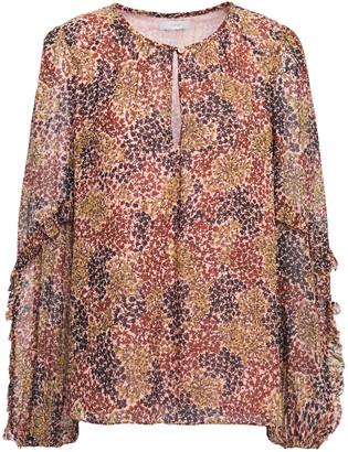 Joie Baltasar Ruffle-trimmed Floral-print Silk-chiffon Blouse